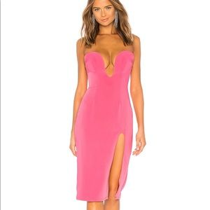 h:ours Lazaro Midi slit leg Dress in Pink Candy